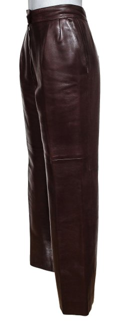 Hermès Leather Leather Leather Vintage Straight Pants Brown Image 2