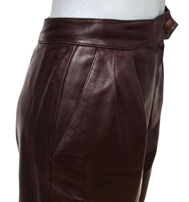 Hermès Leather Leather Leather Vintage Straight Pants Brown Image 3