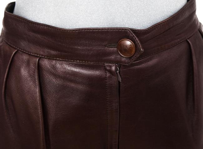 Hermès Leather Leather Leather Vintage Straight Pants Brown Image 4