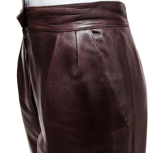 Hermès Leather Leather Leather Vintage Straight Pants Brown Image 5