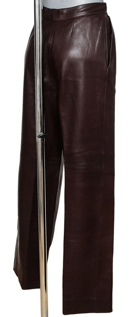 Hermès Leather Leather Leather Vintage Straight Pants Brown Image 6