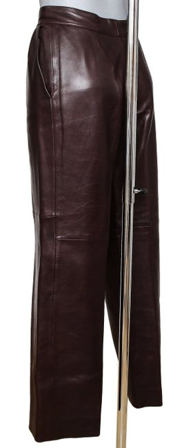Hermès Leather Leather Leather Vintage Straight Pants Brown Image 7
