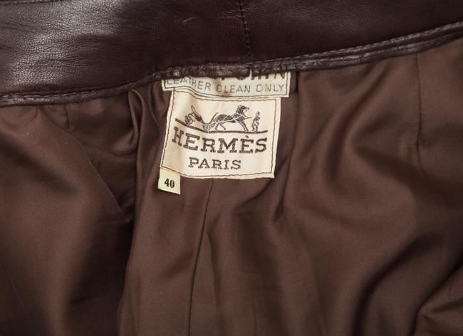 Hermès Leather Leather Leather Vintage Straight Pants Brown Image 8