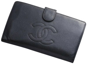 81b34784410a1a Chanel Authentic CHANEL Coco Caviar Skin Genuine Leather Bifold Long Wallet