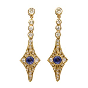 Other 18K Yellow Gold Diamond and Sapphire Vintage Earrings