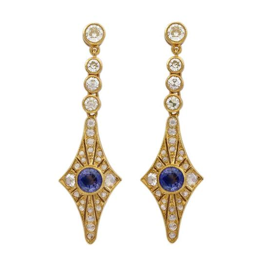 Other 18K Yellow Gold Diamond and Sapphire Vintage Earrings Image 2