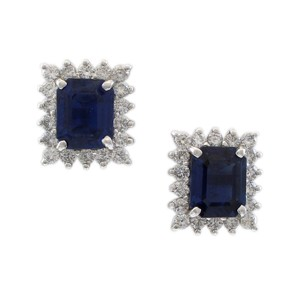 Other 14K White Gold Diamond and Sapphire Estate Earrings