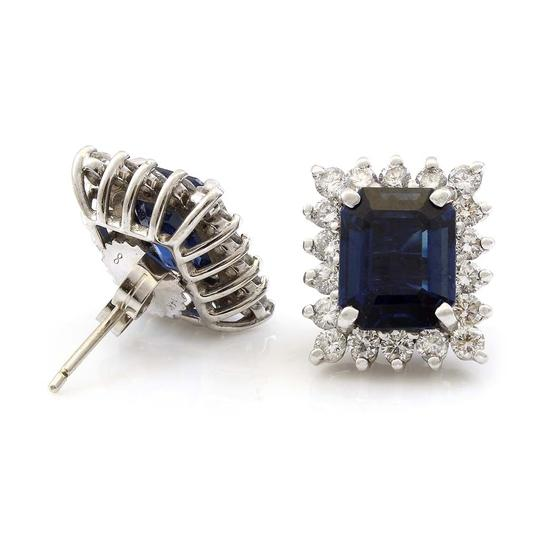 Other 14K White Gold Diamond and Sapphire Estate Earrings Image 1