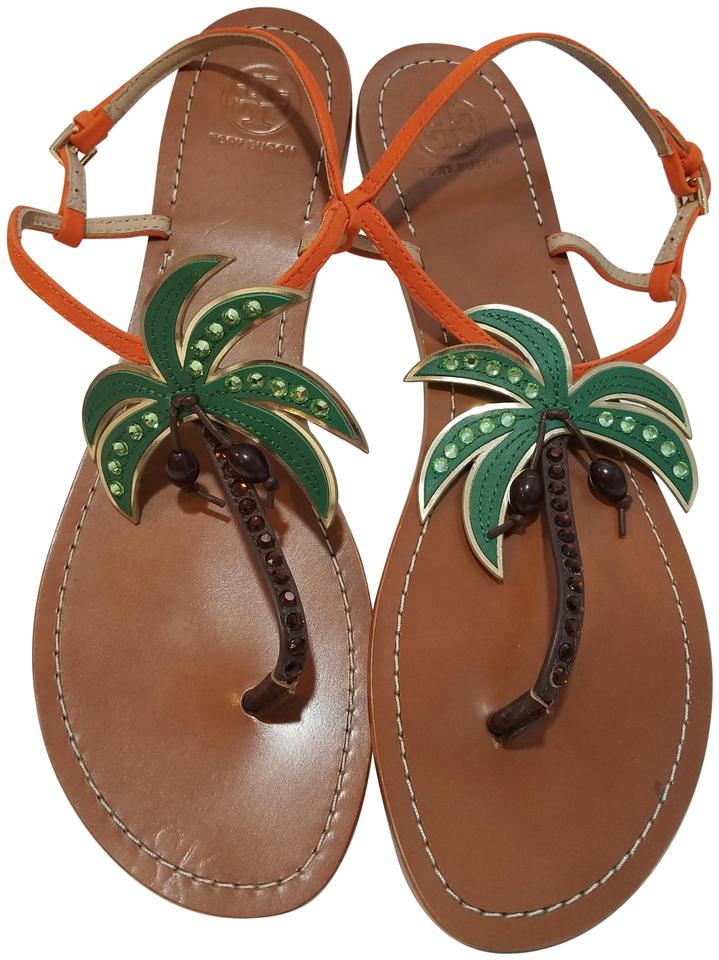 818a6a3e0dab Tory Burch Orange Castaway Womens Embellished Palm Tree Flat Sandals ...