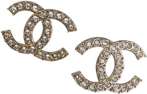 Chanel Chanel 19S Collection Golden/Crystal CC Studs Earrings