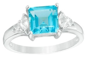 Zales Princess-Cut Blue and White Topaz Ring in Sterling Silver