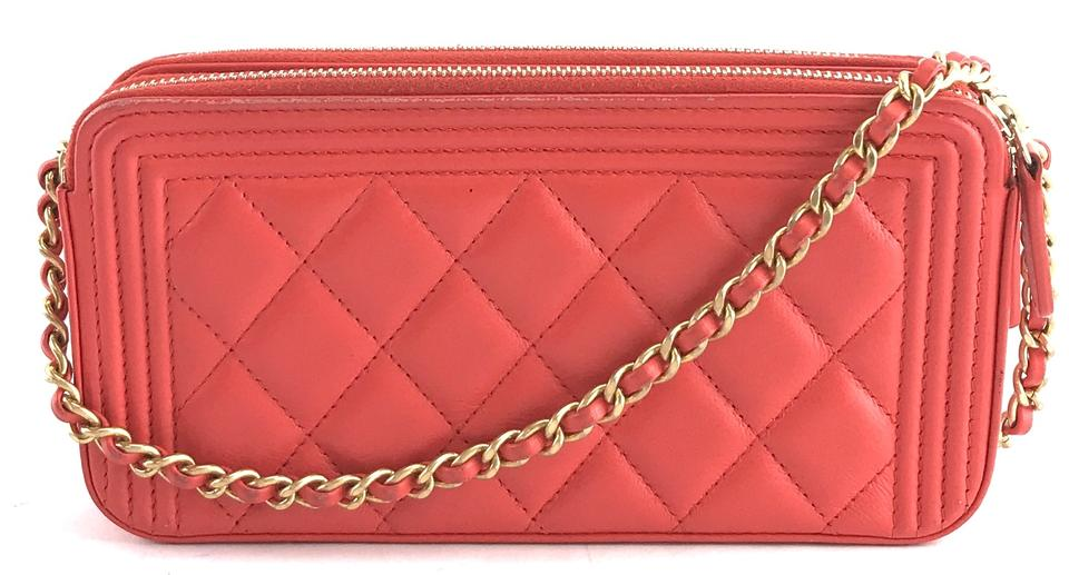 2b60e7a61759b Chanel Wallet on Chain Boy  28298 Rare Cc Quilted Woc Detachable Shoulder  Orange Chili Red Lambskin Leather Cross Body Bag - Tradesy
