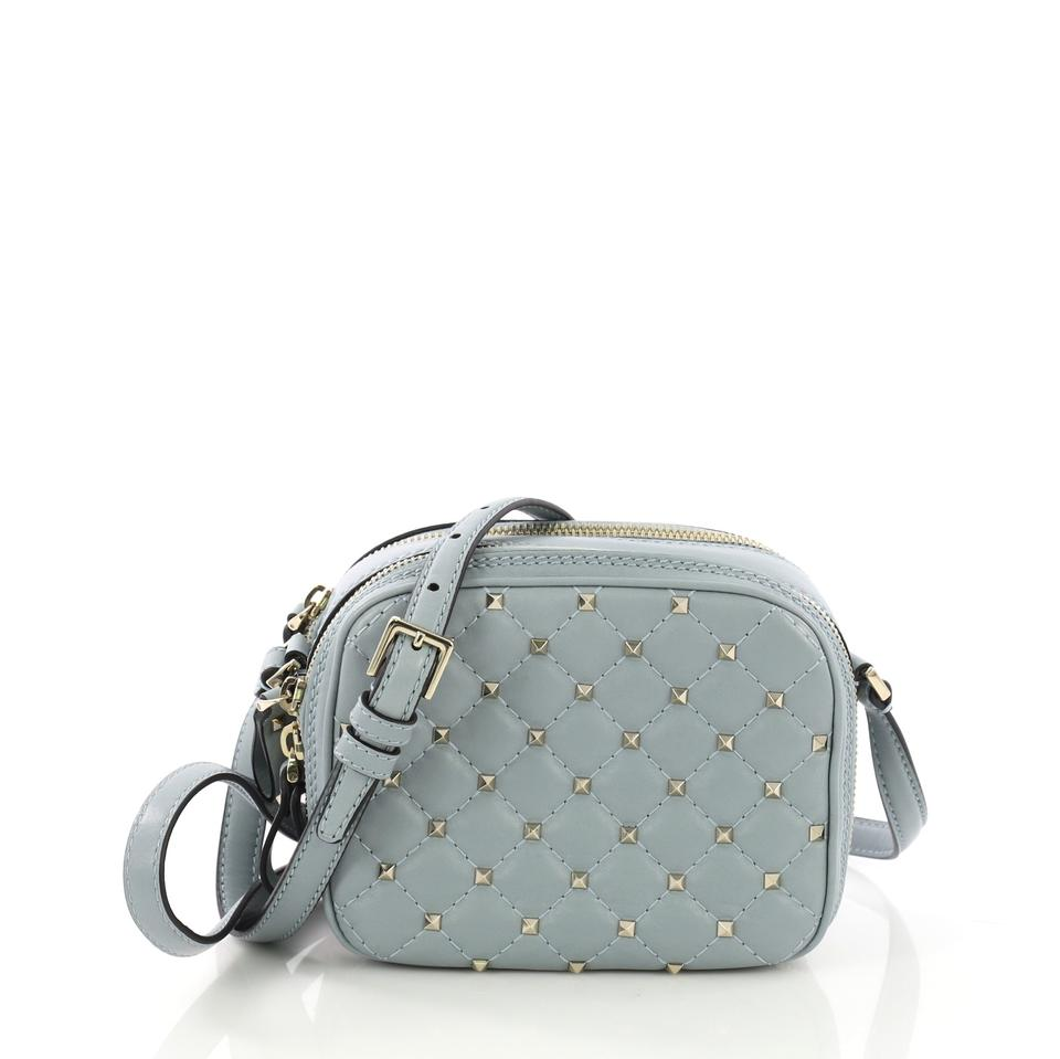 70c870c423 Valentino Camera Rockstud Spike Quilted Mini Light Blue Leather Cross Body  Bag
