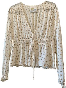 69c4f174a1e Blue Life Boho Beach Feminine Top Off white floral Swiss dot