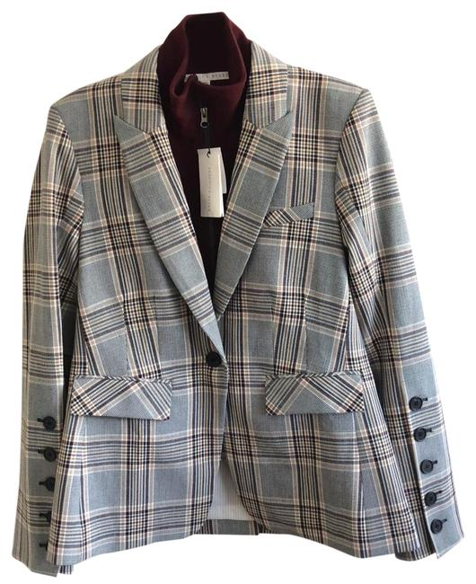 Item - Plaid/Multi Steel with Removable Zippered Turtleneck Dickey Jacket Size 8 (M)