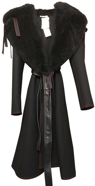 Item - Black Prefall 2015 Wool with Shearling Detachable Collar Coat Size 4 (S)