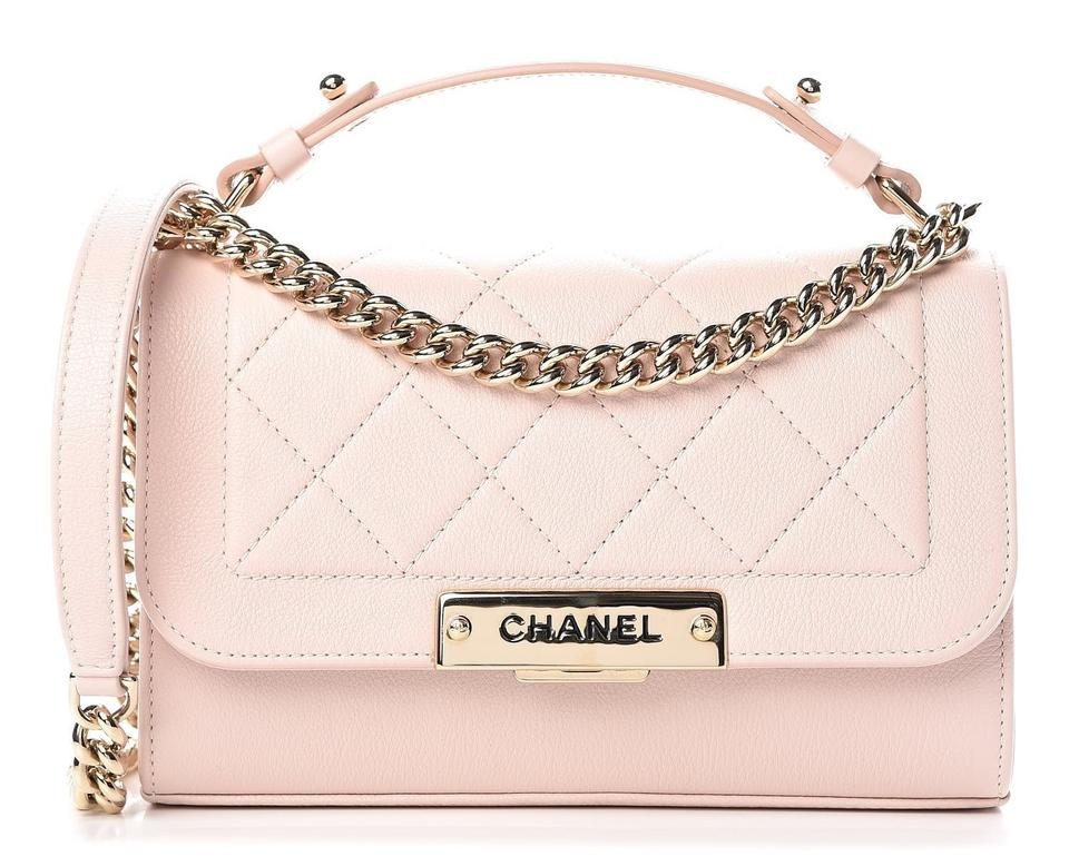 8bbc644cde32 Chanel Grained Quilted Small Label Click Flap Pink Calfskin Leather ...