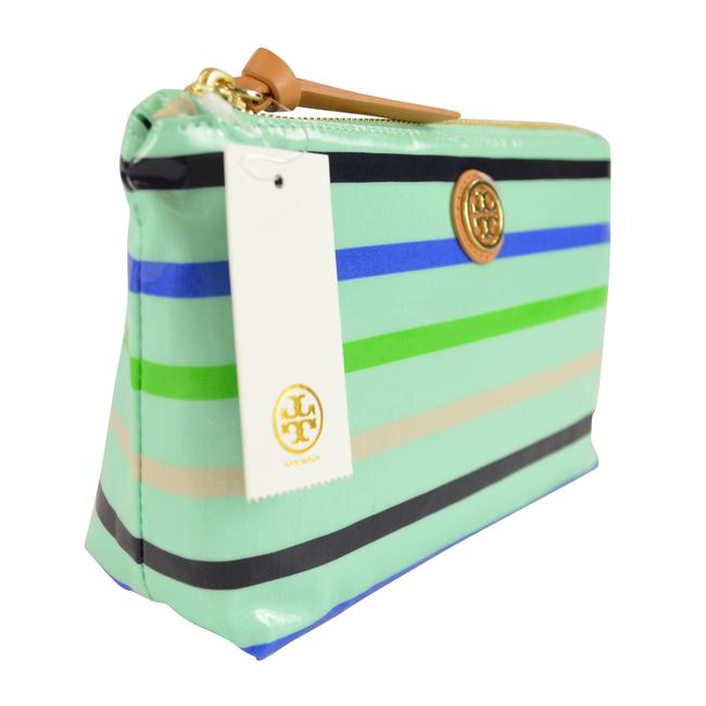Item - Stripe Mint Multi Slouchy Triangle Pouch Cosmetic Bag