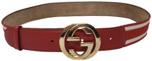 Gucci Red leather Gucci gold-tone GG buckle striped belt