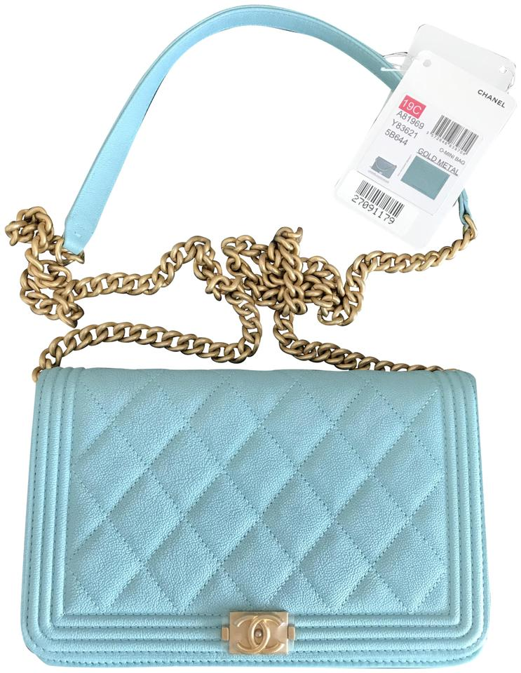 8055e56265ed Chanel Wallet on Chain Boy Quilted Woc Tiffany Green Caviar Leather ...