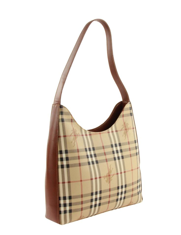 85002717cf34 Burberry Vertical Haymarket Check Beige Coated Canvas Hobo Bag - Tradesy