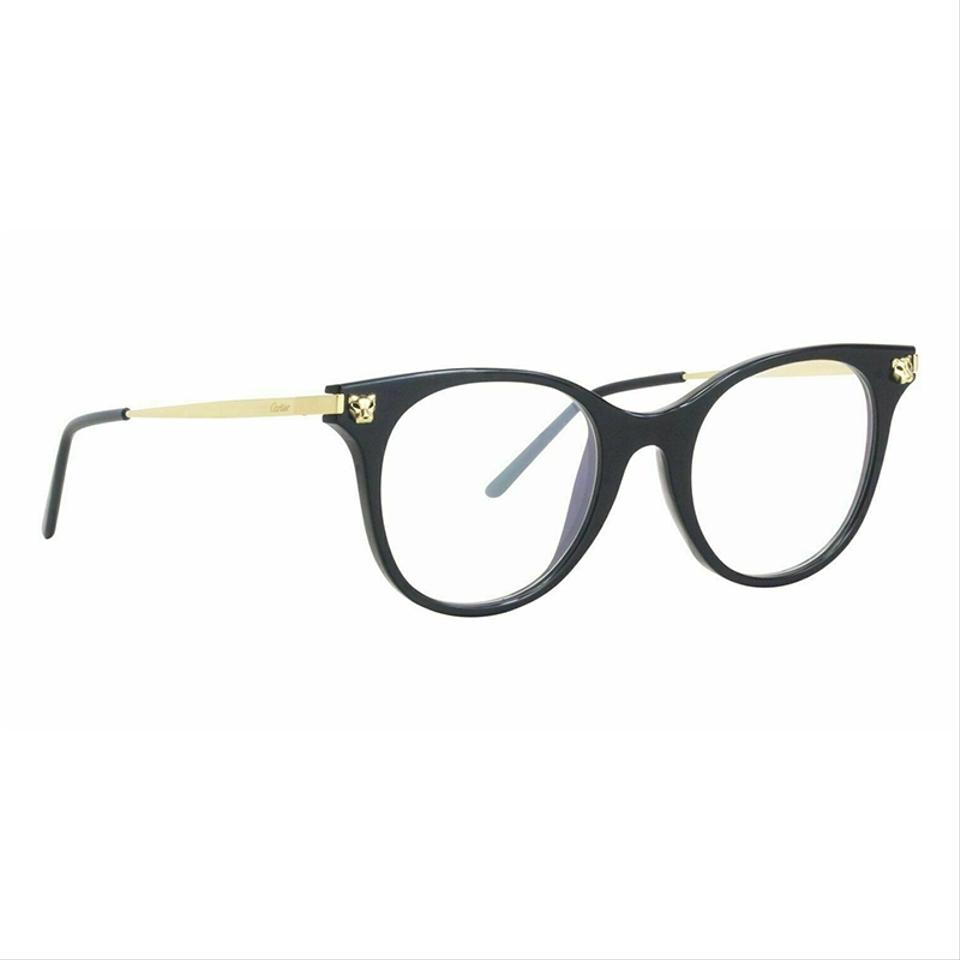 c70426cc48c Cartier Panthere De Black Gold Frame   Demo Customisable Lens Ct0031o 001  Round Style Unisex Eyeglasses - Tradesy