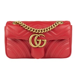 Gucci Marmont Mini Gold Hardware Leather Shoulder Bag