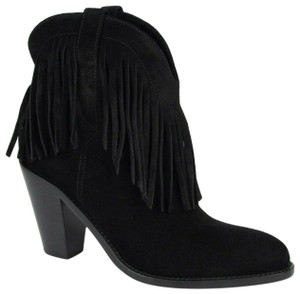 Saint Laurent Women's Suede Fringe Black Boots