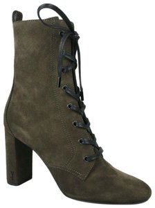 Saint Laurent Suede Loulou 95 Lace Up Dark Green Boots