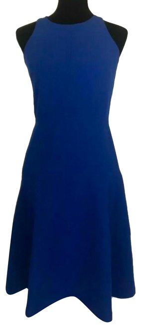Item - Blue Stretch Fit & Tall Lined Mid-length Work/Office Dress Size 6 (S)