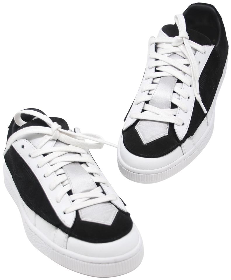 Puma Black White Grey X Karl Suede and Leather Lace Up Women's Sneakers Size US 8 Regular (M, B)