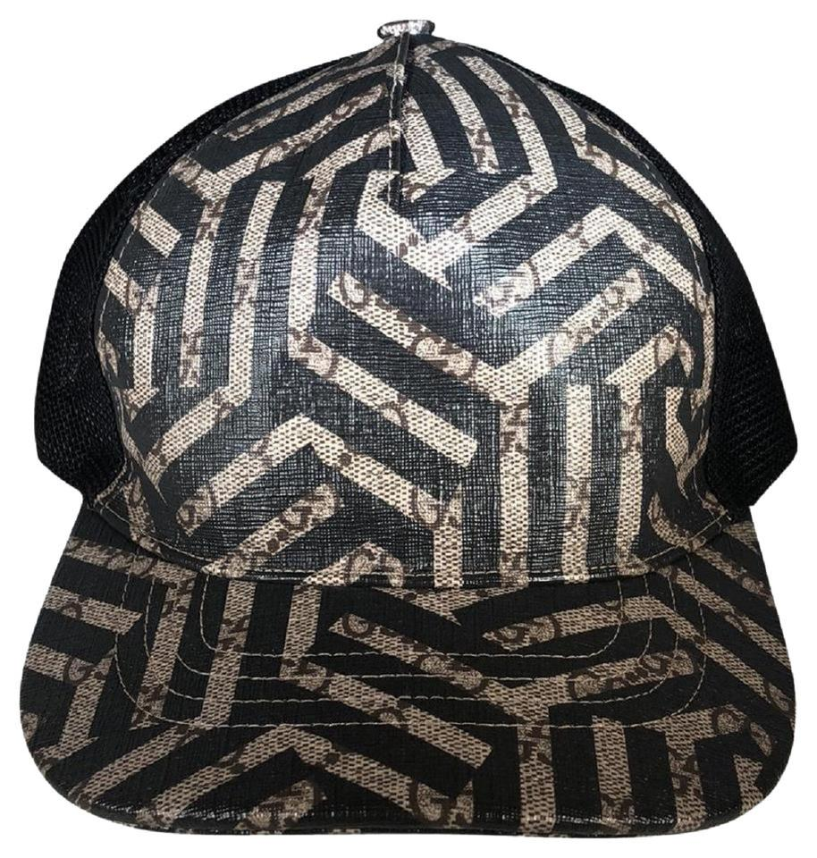 a36d9c3f32a15 Gucci Gucci Caleido Brown and Black GG Logo Leather and Mesh Cap 426887  Image 5. 123456