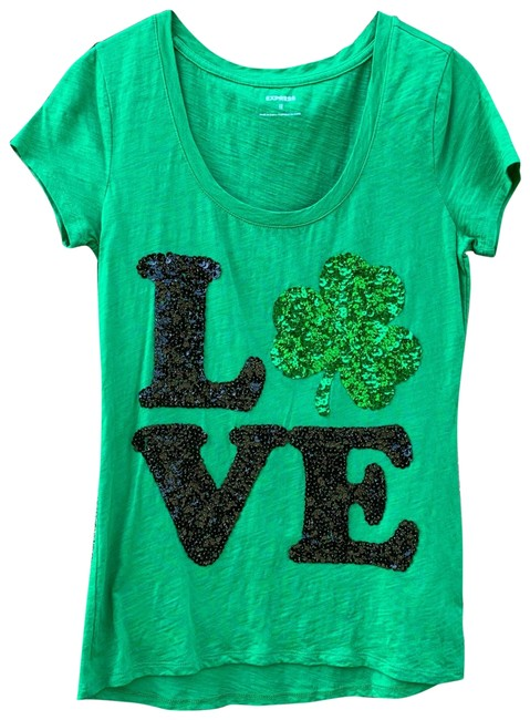 Item - Green and Black Sequin Shamrock Love Tee Shirt Size 0 (XS)