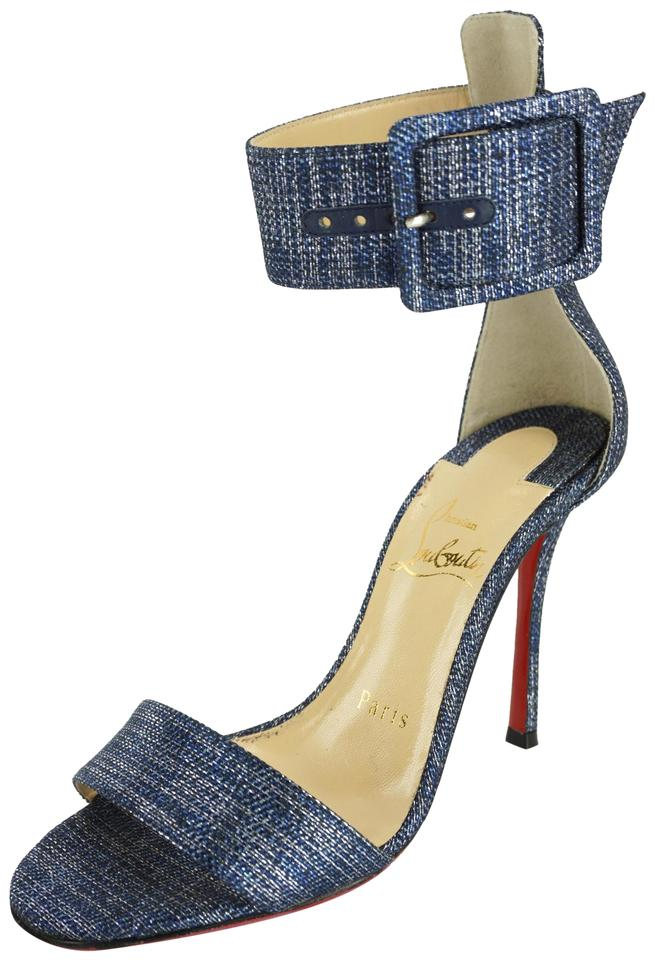 547f68576431 Christian Louboutin Stiletto Ankle Strap Pigalle Runana Blade Blue Pumps  Image 0 ...