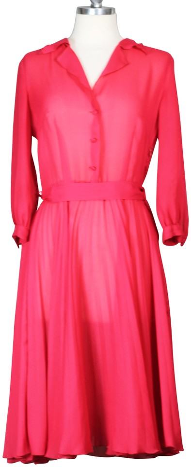 b4765d31162c Leona Edmiston Coral Red Frock Baby Pleat Sheer Vintage Inspired Day Bright  Statement Work/Office Dress