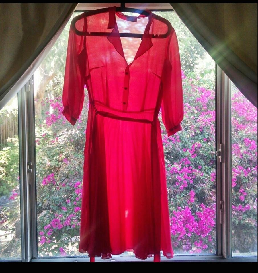5d902f449222 Leona Edmiston Coral Red Frock Baby Pleat Sheer Vintage Inspired Day Bright  Statement Mid-length Work/Office Dress Size 6 (S) - Tradesy