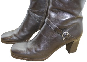 4c3662579b1a Ann Taylor Tall Lug Sole Rubber Sole Silver Brown Boots
