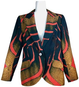 Escada Peak Lapel Abstract Print Jacket Blazer