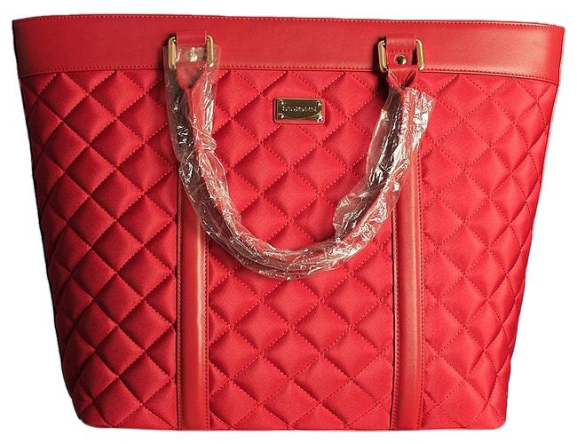 Item - Quilted Large Real Red Nylon Canvas Leather Tote