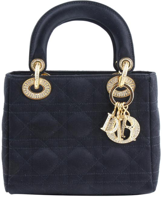 Item - Mini Bag Quilted and Crystal Black Satin Tote