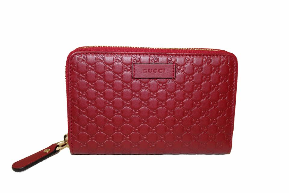 fe8715143b62 Gucci New Gucci Red Micro GG Guccissima Leather Zip Around Wallet Image 0  ...