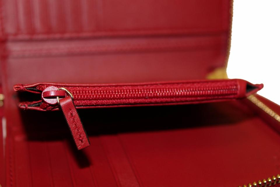 98d2d9919ada Gucci New Gucci Red Micro GG Guccissima Leather Zip Around Wallet Image 11.  123456789101112
