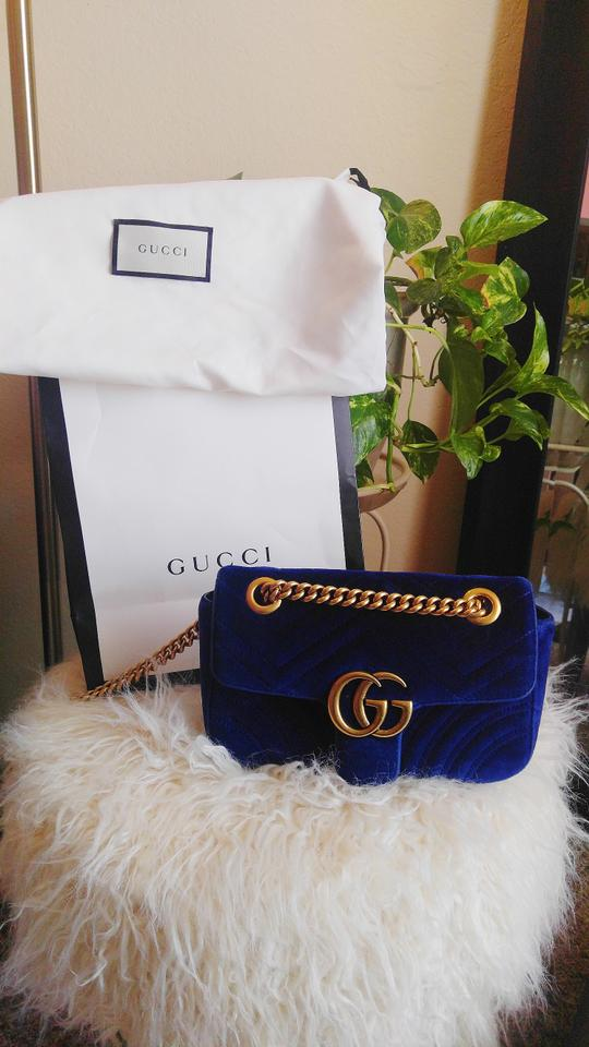 db906ea1ddb9 Gucci Marmont Shoulder Mini Gg Colbalt Blue Velvet Cross Body Bag 11% off  retail