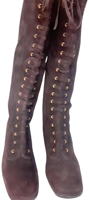 Item - Milk Chocolate Brown Faux Lace Up Knee Height Boots/Booties Size US 8 Narrow (Aa, N)