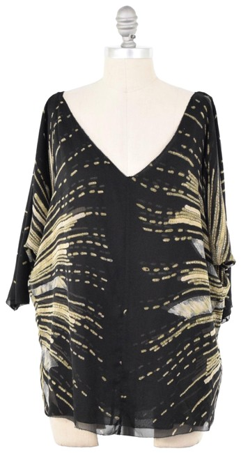 d1c43039325ff Diane von Furstenberg Stretch Chiffon Abstract Print V-neck Dolman Sleeve  Top Black Image 0 ...