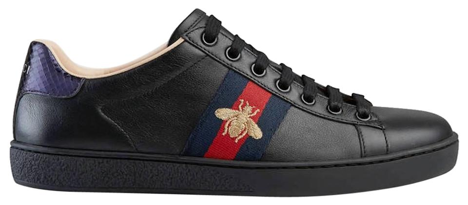 c524e6f773e Gucci Black Ace Embroidered Bee Leather Flat Lace Up Tie Trainer ...