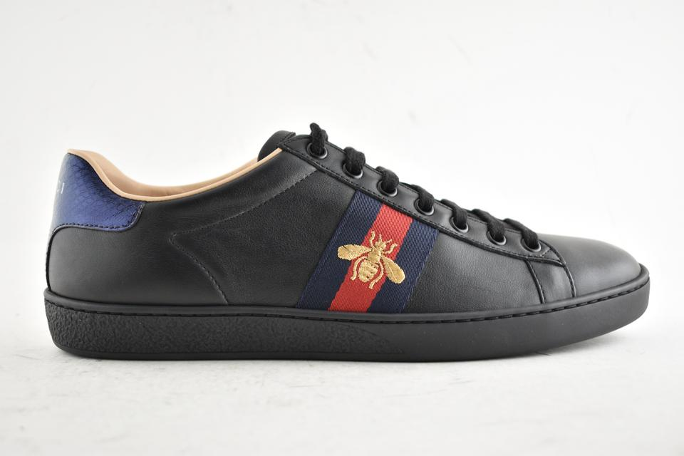 fac82b4f541b2 Gucci Black Ace Embroidered Bee Leather Flat Lace Up Tie Trainer Sneakers  Sneakers