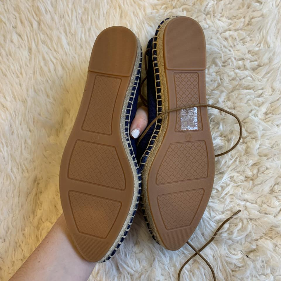 f88f97adc01 Tory Burch Navy Sonoma Gillie Espadrille Lace Up Flats Size US 6.5 Regular  (M