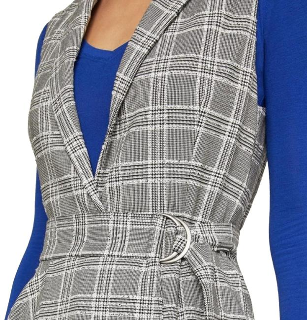 Item - Grey Power Dressing Is Back and Better Than Ever. This Structured Houndstooth Long Flaunts The Trend with A Notched Wide Vest Size 12 (L)