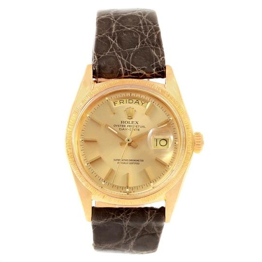 Rolex Rolex President Day-Date Yellow Gold Brown Strap Mens Watch 1807 Image 1